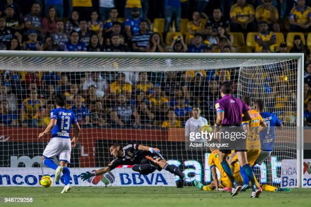 Martin Cauteruccio of Cruz Azul scores the tying goal during the 15th round match between Tigres UANL and Cruz Azul as part of the Torneo Clausura...
