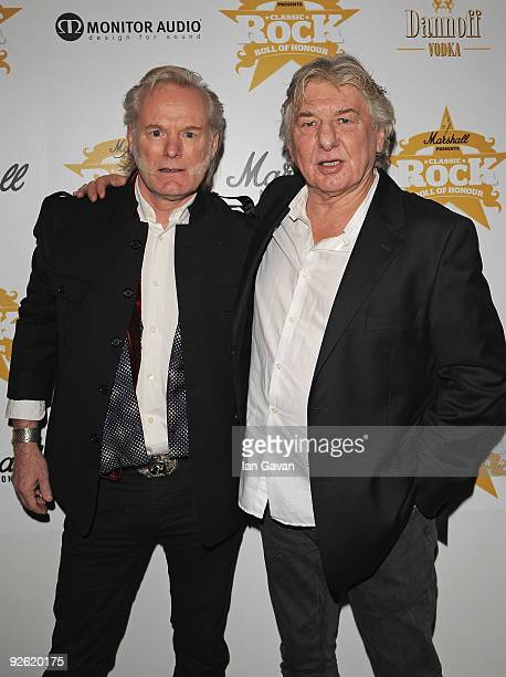 Martin Chambers and Mick Ralphs from rock group Mott the Hoople attend the Classic Rock Roll Of Honour Awards at the Park Lane Hotel on November 2,...