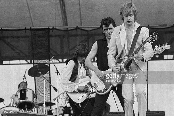 Martin Chambers, Chrissie Hynde, Pete Farndon and James Honeyman-Scott performing with the Pretenders at the Heatwave Festival at Mosport Park near...