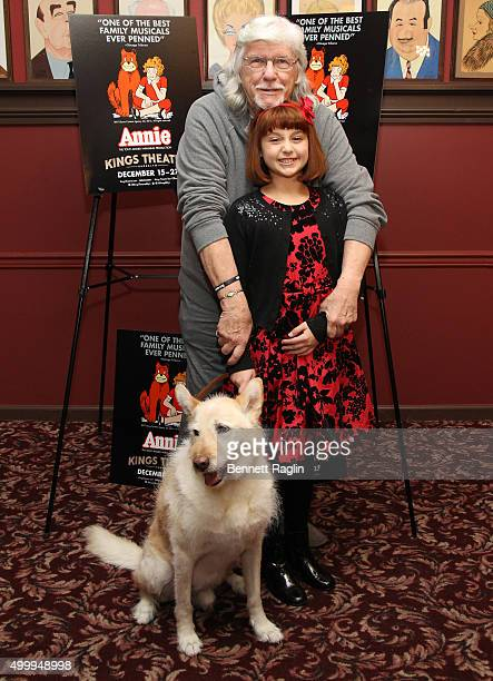 Martin Charnin Issie Swickle and Sandy attend the Annie Cast Photocall at Sardi's on December 4 2015 in New York City