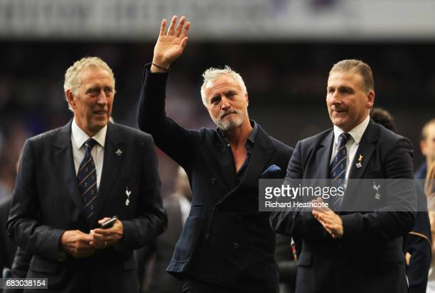 Martin Chivers David Ginola and Mark Falco walk on the pitch during the closing ceremony after the Premier League match between Tottenham Hotspur and...