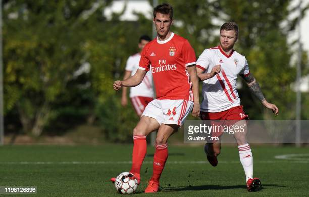 Martin Chrien of SL Benfica B with Nikita Korzun of UD Vilafranquense in action during the Liga Pro match between SL Benfica B and UD Vilafranquense...