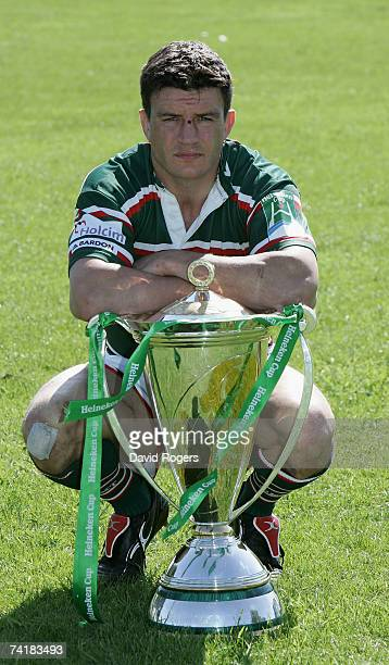Martin Corry captain of Leicester Tigers poses with the trophy at Bletchley Rugby Club prior to Sunday's Heineken Cup Final pictured on May 18 2007...
