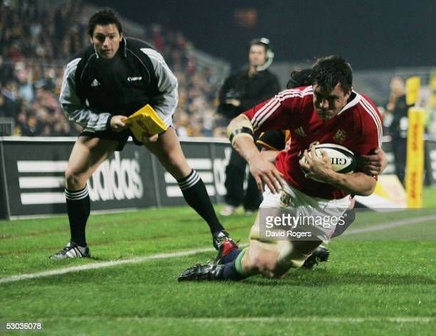 Martin Corry dives over to score the first Lions try during the match between the British and Irish Lions and Taranaki at The Yarrow Stadium on June...