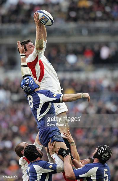 Martin Corry of England beats Thomas Lievremont of France to the ball in a line out during the RBS Six Nations match between France and England at...