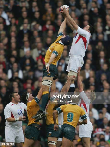 Martin Corry of England contests a line out against Daniel Vickerman of Australia during the Investec Challenge match between England and Australia...