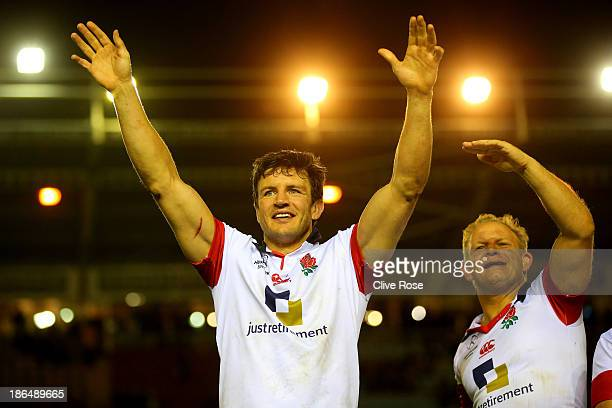 Martin Corry of England gestures to the crowd during the England Legends v Australia Legends match at Twickenham Stoop on October 31, 2013 in London,...
