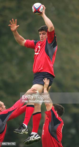 Martin Corry of England in action during a training session, prior to their match against Argentina, at Bisham Abbey in Marlow on the 7th November,...