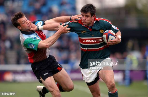 Martin Corry of Leicester Tigers is tackled by Dan Luger of Harlequins during the Zurich Premiership match between Harlequins and Leicester Tigers...
