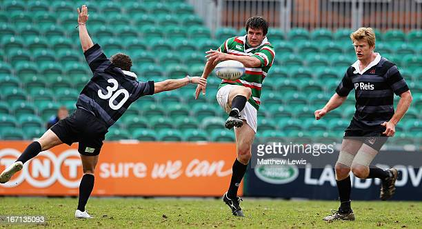 Martin Corry of Louis Deacon's Tigers clears the ball during the Leicester Tigers Legends Match between Louis Deacon's Tigers and Matt Hampson...