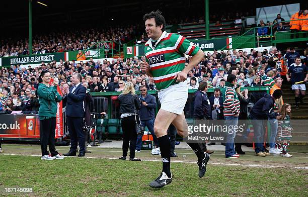 Martin Corry of the Louis Deacon's Tiger runs out during the Leicester Tigers Legends Match between Louis Deacon's Tigers and Matt Hampson...