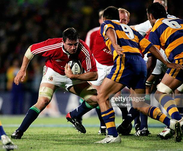 Martin Corry, the Lions replacement number eight takes on Kevin Senio during the match between the British and Irish Lions and the Bay of Plenty at...