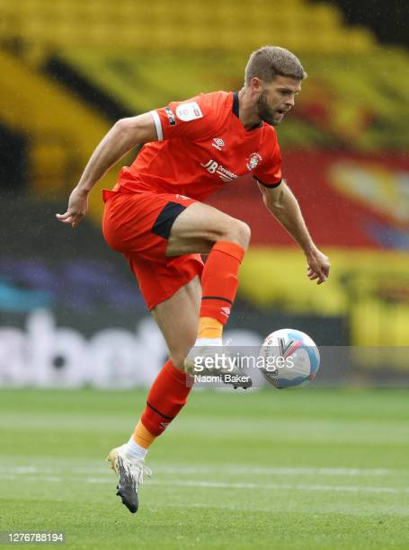 Martin Cranie of Luton Town controls the ball during the Sky Bet Championship match between Watford and Luton Town at Vicarage Road on September 26...