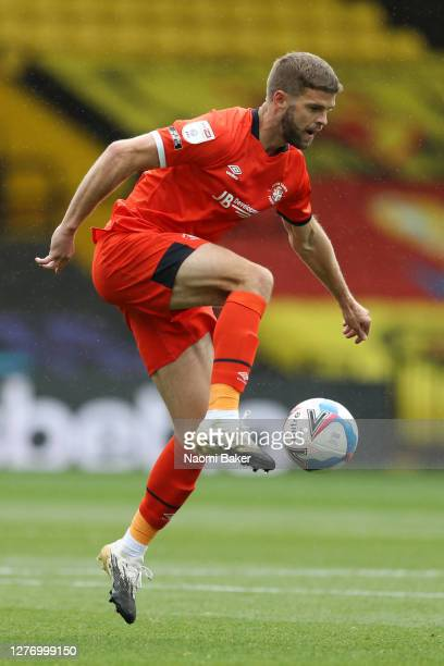 Martin Cranie of Luton Town in action during the Sky Bet Championship match between Watford and Luton Town at Vicarage Road on September 26 2020 in...
