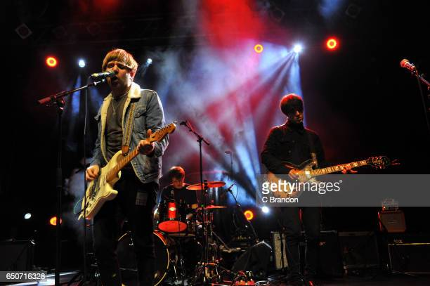 Martin Cunliffe Aidan Butler and Michael Bishop of Ravellas perform on stage at Koko on March 9 2017 in London United Kingdom