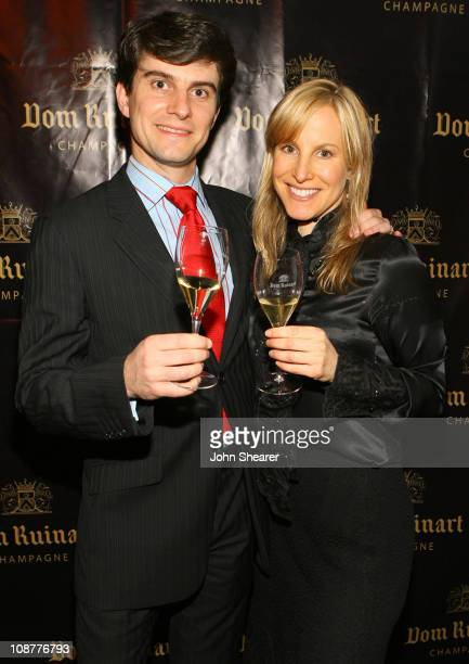 Martin DeDreuille and Pamela Haber during Launch Party For Dom Ruinart 1996 at Private Estate in Bel Air California United States