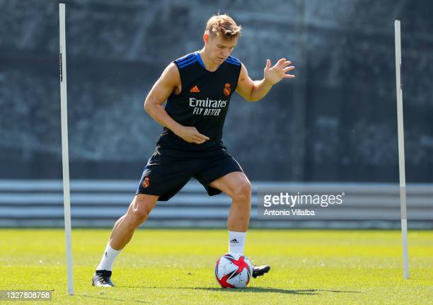 Martin Ødegaard of Real Madrid is training at Valdebebas training ground on July 09, 2021 in Madrid, Spain.