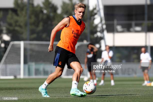 Martin Ødegaard of Real Madrid is training at Valdebebas training ground on July 23, 2021 in Madrid, Spain.