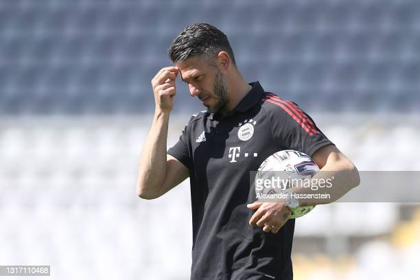 Martin Demichelis, coach of Bayern München reacts after the 3. Liga match between Bayern München II and SpVgg Unterhaching at Stadion an der...