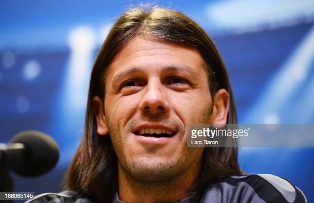 Martin Demichelis looks on during a Malaga CF press conference ahead of their UEFA Champions League quarterfinal match against Borussia Dortmund on...