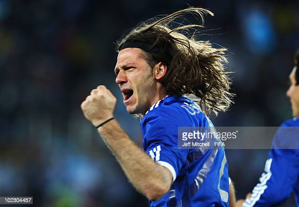 Martin Demichelis of Argentina celebrates scoring during the 2010 FIFA World Cup South Africa Group B match between Greece and Argentina at Peter...