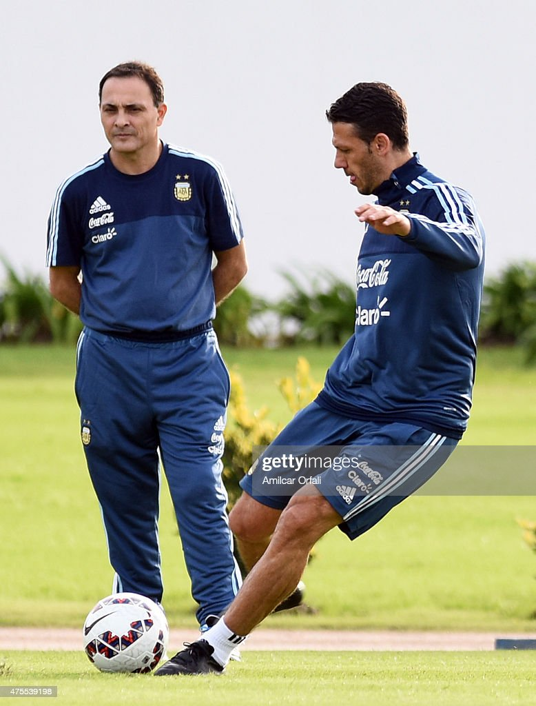 Martin Demichelis of Argentina kicks the ball during a training session at Argentine Football Association 'Julio Humberto Grondona' training camp on June 01, 2015 in Ezeiza, Argentina. Argentina will face its first match as part of Copa America Chile 2015 against Paraguay on June 13th, 2015.