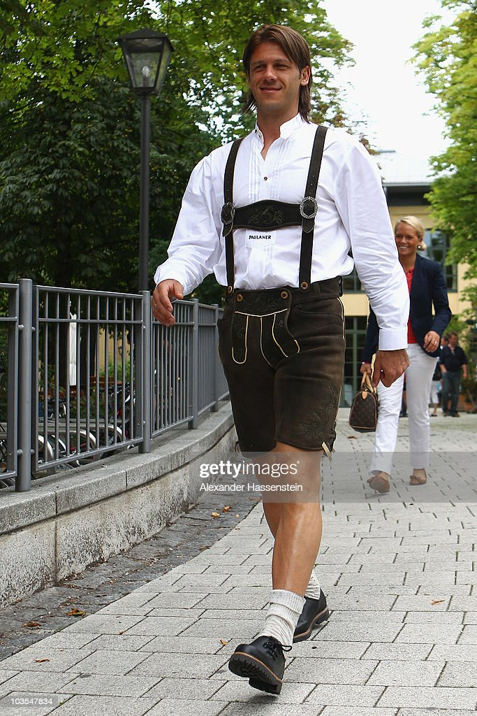 Martin Demichelis of Bayern Muenchen leaves the Nockerberg Biergarden after the Paulaner photocall at the Nockerberg Biergarden on August 23, 2010 in Munich, Germany.