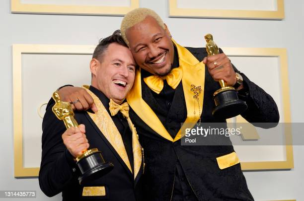 "Martin Desmond Roe and Travon Free, winners of Best Live Action Short Film for ""Two Distant Strangers"", pose in the press room at the Oscars on..."