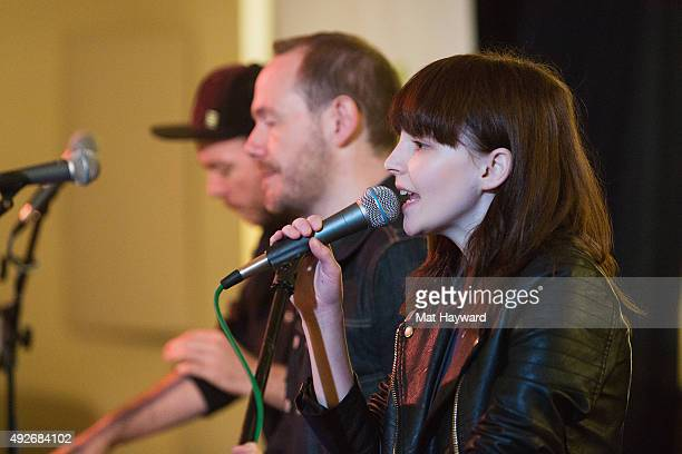 Martin Doherty Iain Cook and Lauren Mayberry and Martin Doherty of Chvrches perform during an EndSession hosted by 1077 The End at Fremont Abbey Arts...