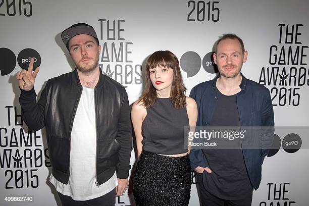 Martin Doherty Lauren Mayberry and Iain Cook of Chvrches arrives at The Game Awards 2015 Arrivals at Microsoft Theater on December 3 2015 in Los...