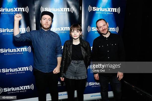 Martin Doherty Lauren Mayberry and Iain Cook of CHVRCHES attend the private CHVRCHES Concert at The McKittrick Hotel Concert To Air On SiriusXM's...