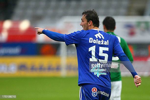 Martin Dolezal of SK Sigma Olomouc in action during the Czech First League match between FK Jablonec and SK Sigma Olomouc held on May 26, 2013 at the...