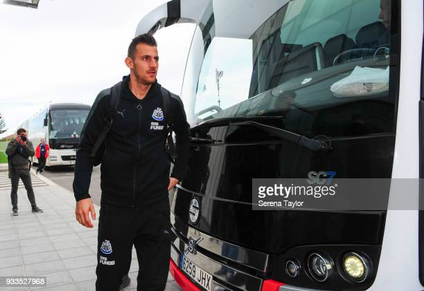 Martin Dubravka arrives for the friendly match between Newcastle United and Royal Antwerp FC at Pinatar Arena on March 18 i n Alicante Spain