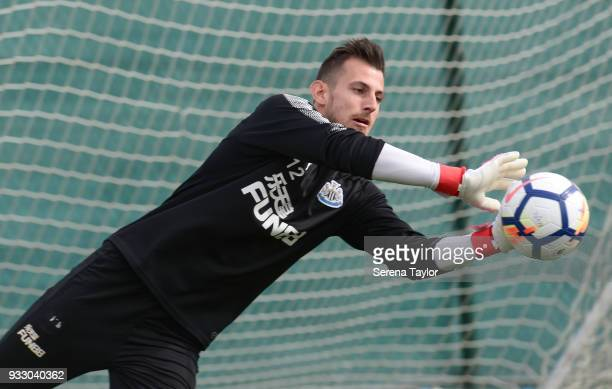Martin Dubravka catches the ball during the Newcastle United Training Session at Hotel La Finca on March 17 in Alicante Spain