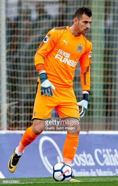 Martin Dubravka goalkeeper of Newcastle controls the ball during the friendly match between Newcastle United and Royal Antwerp FC at Pinatar Arena on...