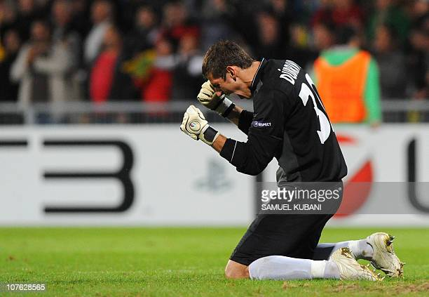 Martin Dubravka of MSK Zilina celebrates after a match against Sparta Prague during the UEFA Champions League play-off round 2nd leg of football...