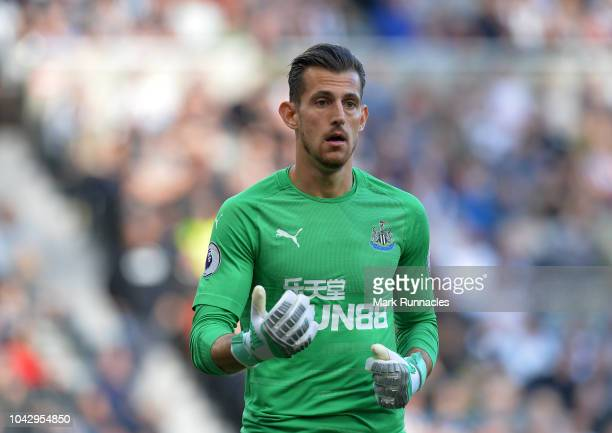 Martin Dubravka of Newcastle in action during the Premier League match between Newcastle United and Leicester City at St James Park on September 29...