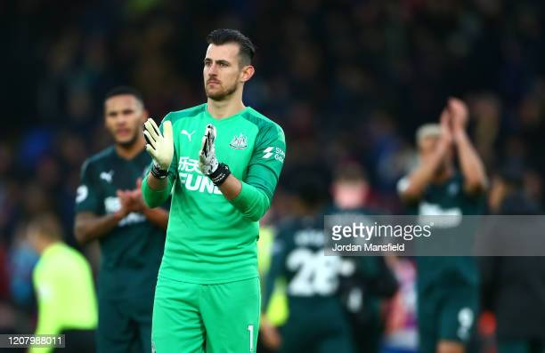Martin Dubravka of Newcastle United applauds fans after the Premier League match between Crystal Palace and Newcastle United at Selhurst Park on...