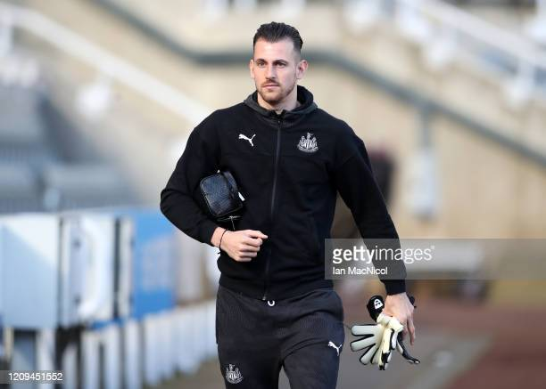 Martin Dubravka of Newcastle United arrives prior to the Premier League match between Newcastle United and Burnley FC at St James Park on February 29...