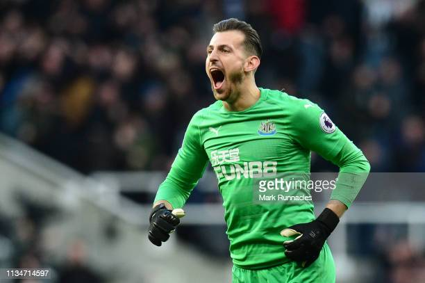 Martin Dubravka of Newcastle United celebrates after his team's third goal during the Premier League match between Newcastle United and Everton FC at...
