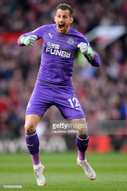 Martin Dubravka of Newcastle United celebrates after Kenedy of Newcastle United scores their team's first goal during the Premier League match...