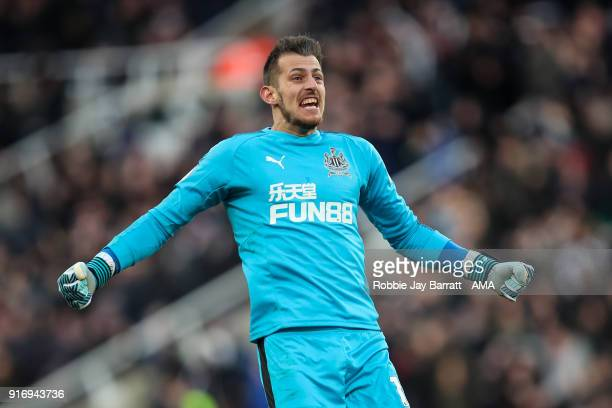 Martin Dubravka of Newcastle United celebrates during the Premier League match between Newcastle United and Manchester United at St James Park on...