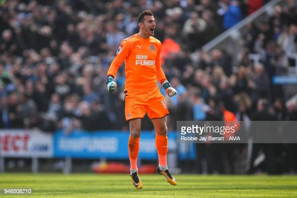 Martin Dubravka of Newcastle United celebrates the second goal during the Premier League match between Newcastle United and Arsenal at St James Park...