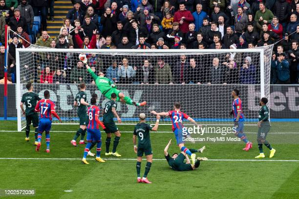 Martin Dubravka of Newcastle United dices to make save from Gary Cahill shot during the Premier League match between Crystal Palace and Newcastle...