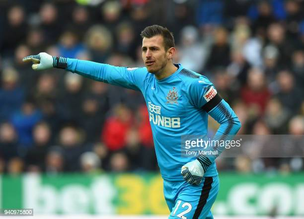 Martin Dubravka of Newcastle United gestures during the Premier League match between Newcastle United and Huddersfield Town at St James Park on March...