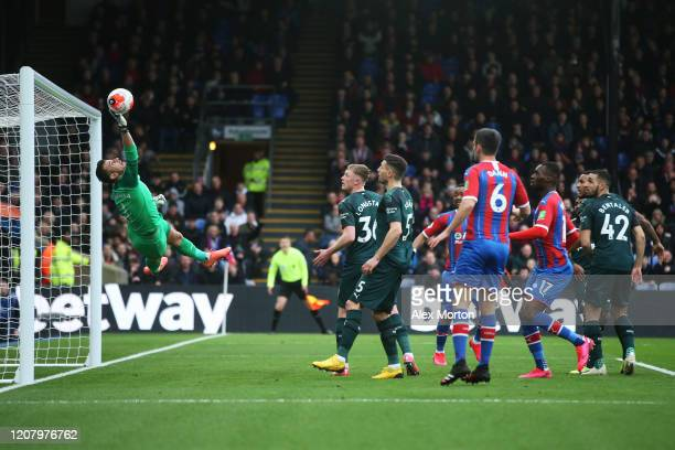 Martin Dubravka of Newcastle United makes a save during the Premier League match between Crystal Palace and Newcastle United at Selhurst Park on...