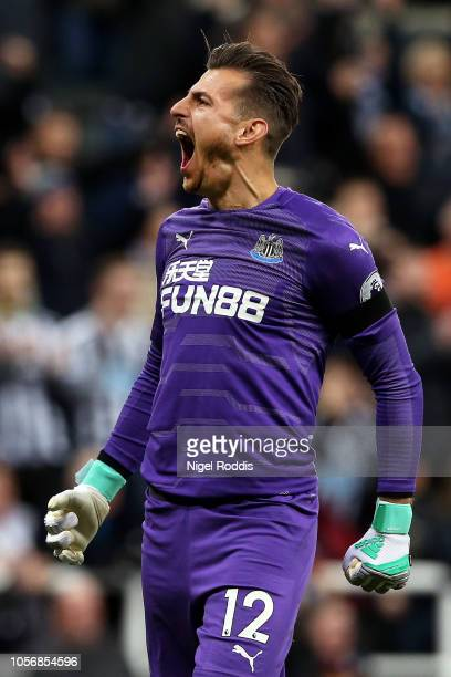 Martin Dubravka of Newcastle United reacts during the Premier League match between Newcastle United and Watford FC at St James Park on November 3...