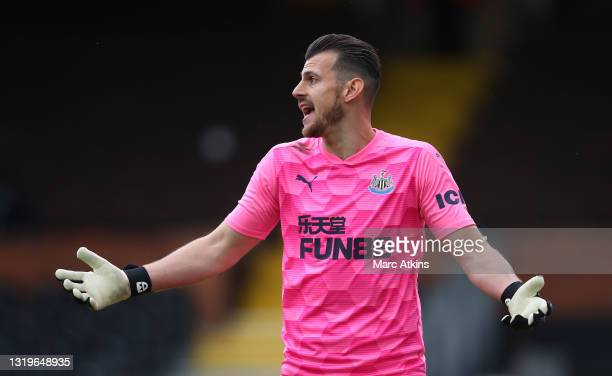 Martin Dubravka of Newcastle United reacts during the Premier League match between Fulham and Newcastle United at Craven Cottage on May 23, 2021 in...