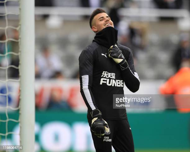Martin Dubravka of Newcastle United warms up prior to the Premier League match between Newcastle United and Norwich City at St James's Park Newcastle...