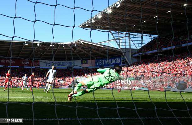 Martin Dubravka of Slovakia fails to score Wales first goal scored by Daniel James of Wales during the 2020 UEFA European Championships group E...